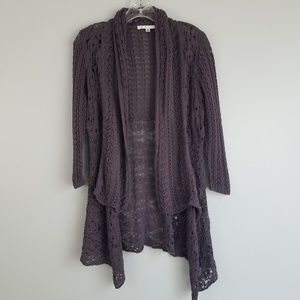 Cabi S purple knit waterfall open cardigan M10